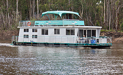Modern houseboat in Port of Echuca. Editorial Stock Photo