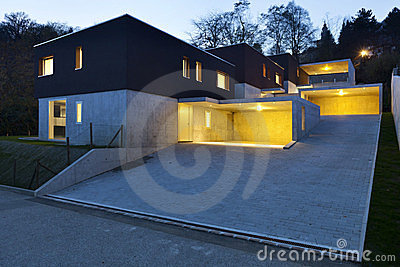 Modern houses by night