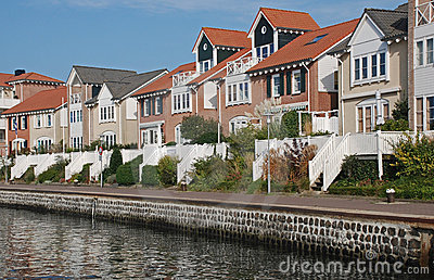 Modern houses view waterfront