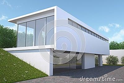 Modern huis met tuin buitenmening stock illustratie afbeelding 39618046 - Eigentijds huis grijs ...