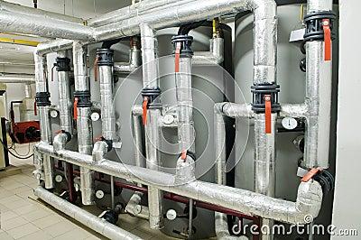 Modern industrial boiler room