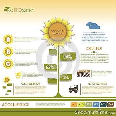 Modern infographic green template design.