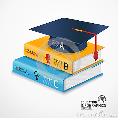 Modern infographic Template with book and Graduation cap.