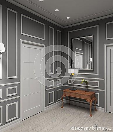 Modern interior. 3D render