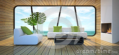 Modern interior of the beach house