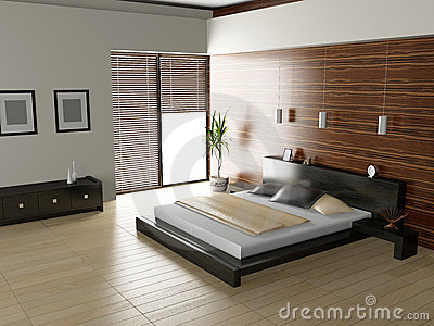 Modern Interior Of A Bedroom Room Royalty Free Stock Photo ...