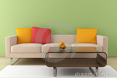 Modern interior with beige sofa