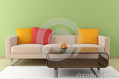 Modern interior with beige sofa