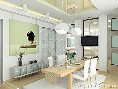 Modern interior in big house