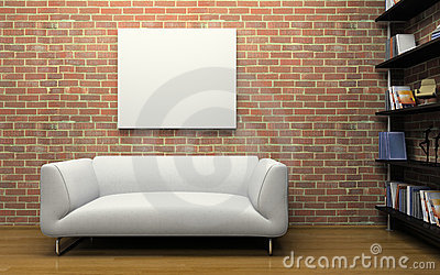 Modern interior with brick wall