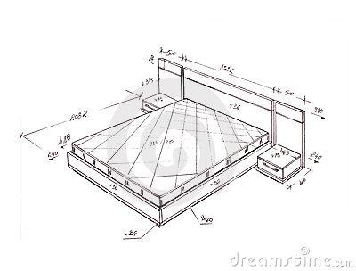 Modern Interior Design Bed Freehand Drawing. Royalty Free Stock