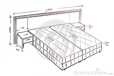 Modern Interior Design Bed Freehand Drawing. Stock Image - Image