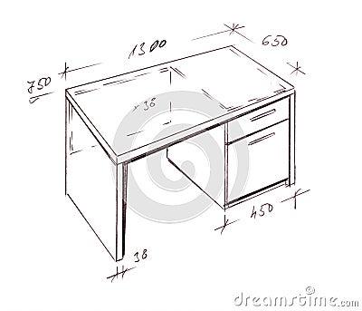 Modern Interior Design Desk Freehand Drawing Stock s