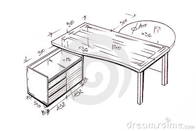 Modern interior design desk freehand drawing.