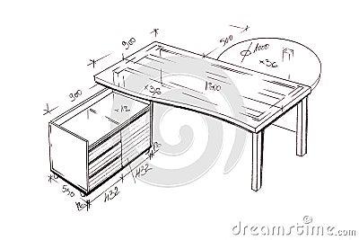 Modern interior design desk freehand drawing.