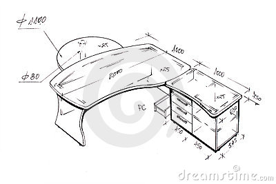 Modern interior design desk freehand drawing stock photo for Bureau dessin