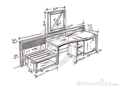 modern interior design desk freehand drawing royalty free stock photo