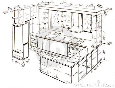 Modern interior design freehand drawing royalty free for Interior design layout drawing