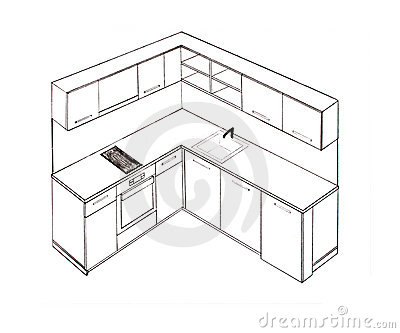 Royalty Free Stock Photos Modern Interior Design Kitchen Freehand Drawing Image13298918 on kitchen furniture plans free