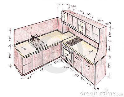 Modern interior design kitchen freehand drawing.