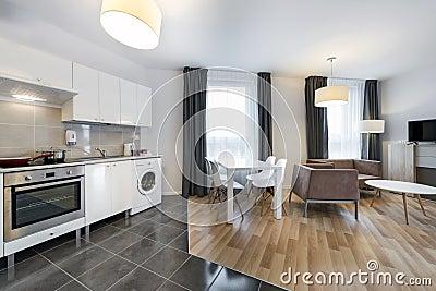 Modern interior design living room with kitchen stock - Interior design open space ...