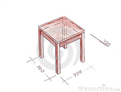 Modern interior design table freehand drawing.