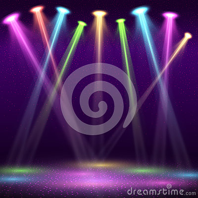 Free Modern Interior Of Nightclub With Empty Show Stage And Color Spot Lights Vector Illustration Stock Photo - 98771230