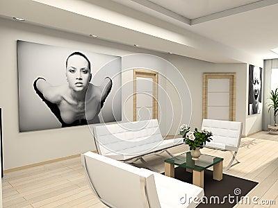 Modern interior with portrait.