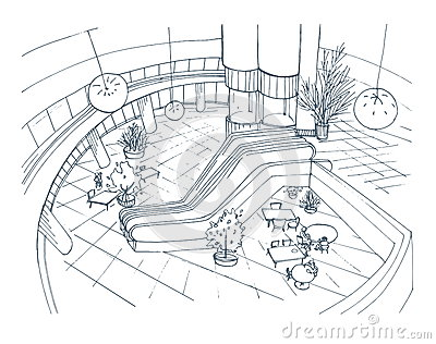 Modern Interior Shopping Center, Mall. Top View. Contour Sketch ...