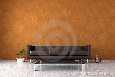 modern interior with venetian stucco wall stock photo image. Black Bedroom Furniture Sets. Home Design Ideas