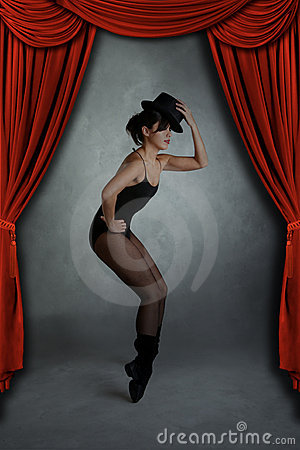 Modern Jazz Dancer Posing on Stage