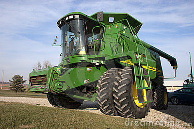 Modern John Deere Tractor Combine on Dairy Farm Editorial Photo