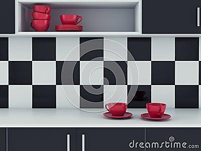 Zwart wit keuken modern binnenlands ontwerp stock foto ...