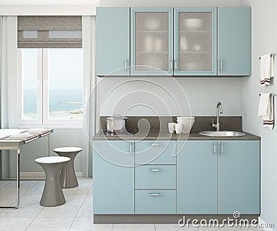 Binnenland van grijze blauwe 3d keuken royalty vrije stock foto ...
