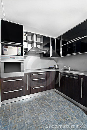 Modern kitchen in black and wenge colors