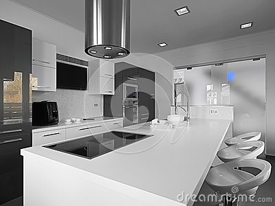 Modern kitchen in a black and white