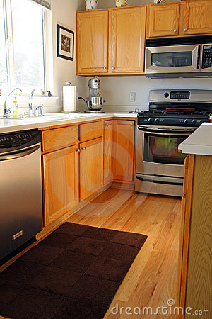 modern kitchen cabinets in oak stock photos image 12032743