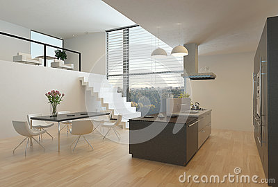 Modern Kitchen Interior With A Mezzanine Stock
