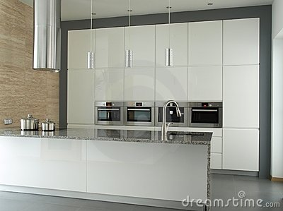 Modern kitchen interior in white