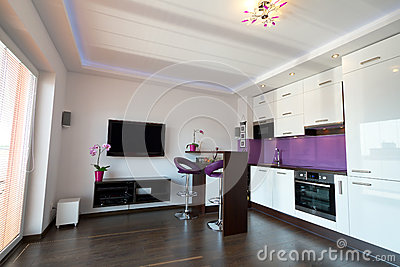 Modern kitchen with living room