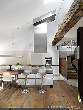Modern kitchen near to staircase
