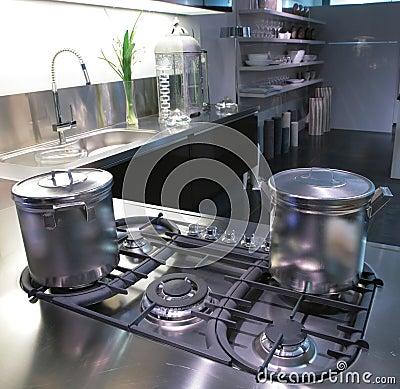 Modern kitchen with saucepan