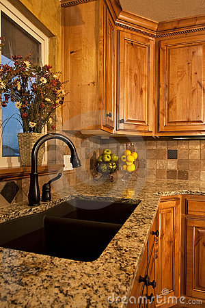 Free Modern Kitchen Sink And Cabinets Stock Image - 9763171