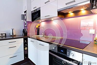 Modern kitchen with spotlights