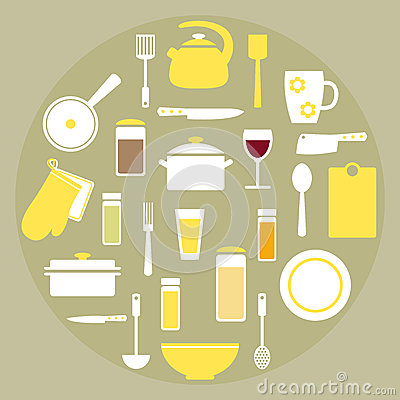 stock vector modern kitchen stuff set elements in yellow white and