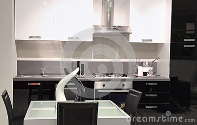 Modern kitchen with white and black colors