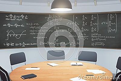 Modern klaslokaal met meubilair en bord met vergelijkingen stock foto afbeelding 61680106 - Modern meubilair en oude ...
