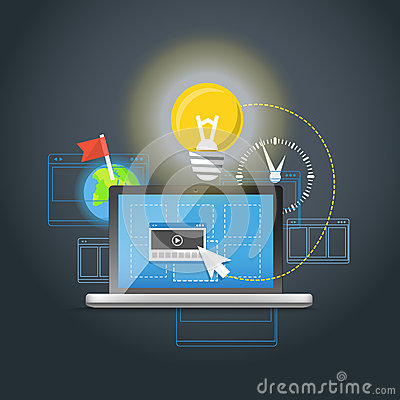 Modern laptop with light bulb