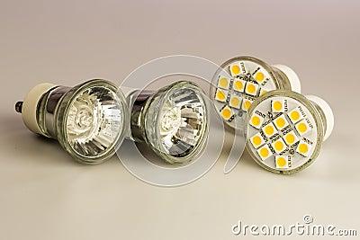 Modern LED bulbs with classic old bulbs Stock Photo