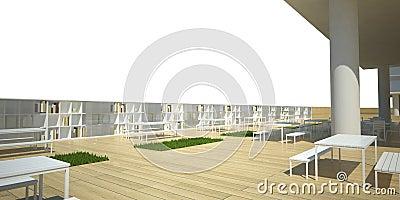Modern library exterior 3d render